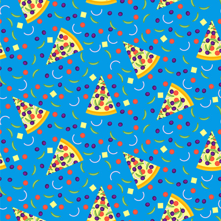cooking ingredients: Seamless pattern of pizza slices with ingredients. Bright seamless background of vector slices of pizza in a flat style. Vector illustration.