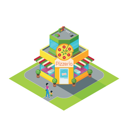 Building pizza shopisometric building pizza restaurant3d building pizza cafeisometric cafe pizza in a flat stylecafe pizza with a young woman and a child walking to a buildingvector illustration