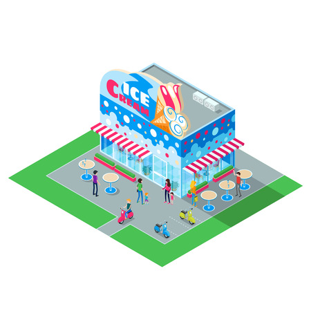 sidewalk cafe: Isometric building cafe ice cream. 3d building an ice cream restaurant with people. Exterior of family cafe ice cream isolated on white background. Vector illustration. Illustration