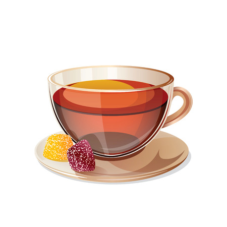 black tea: Glass cup with black tea isolated on white background. Transparent cup with black tea and sweets. Health drink black tea in a glass cup. Isolated icon of black tea. Vector illustration. Illustration