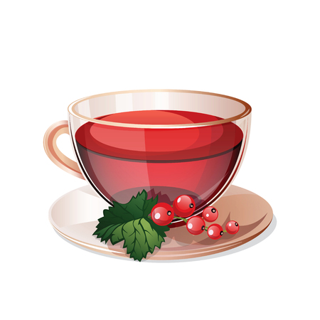herbal: Glass cup with herbal tea isolated on a white background. Transparent cup of herbal tea and currant. Health drink red herbal tea in a glass cup. Isolated icon herbal tea. Vector illustration.