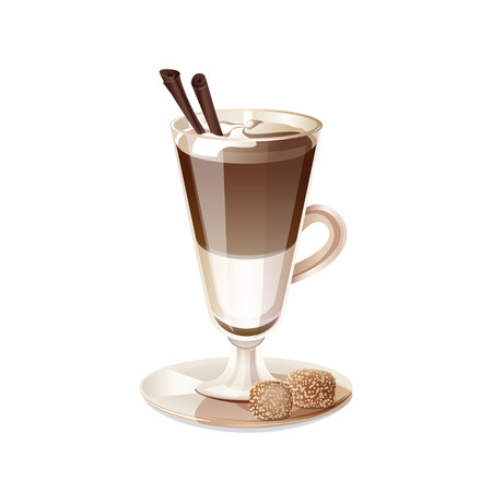 chocolate drink: Glass cup of coffee latte isolated on white background. Transparent cup of coffee, milk and chocolate. Drink coffee latte in a tall glass. Isolated icon latte. Vector illustration.