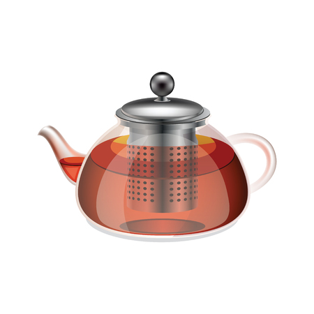 british culture: Glass teapot with herbal tea isolated on a white background. Transparent teapot with herbal tea. Health drink red herbal tea in the teapot. Isolated icon teapot with tea. Vector illustration.