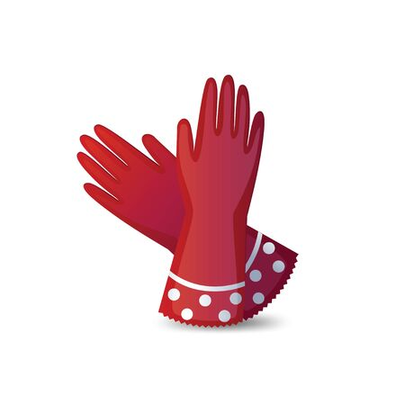 white gloves: Rubber garden gloves isolated on white background. Shiny red rubber gloves. Icon rubber gloves for working in the garden. Icon household rubber gloves. Vector illustration.