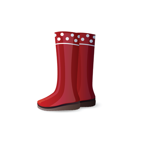 red boots: Rubber garden boots isolated on white background. Shiny red rubber boots. Icon of rubber boots for working in the garden. Icon waterproof rubber boots. Vector illustration.