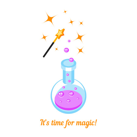 abracadabra: Isometric icons magic wand and laboratory flask isolated on white background. 3d icon magic wand and test tube with pink potion. T-shirt design. Vector illustration.