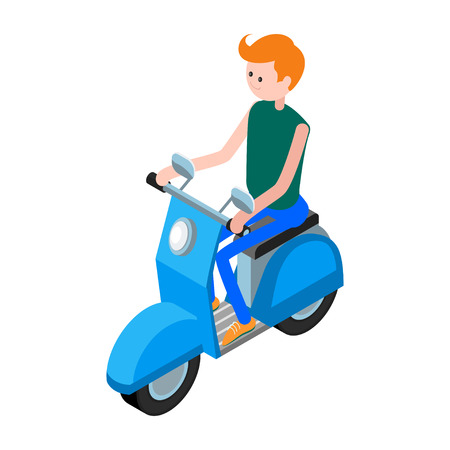motorcyclist: Isometric icon scooter with a driver. 3d icon scooter isolated on white background. Isometric icon of the motorcyclist on a blue scooter in a flat style. Vector illustration. Illustration