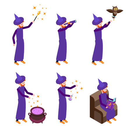 abracadabra: Set of Isometric icons wizard in different poses. Wizard isolated on white background. Vector illustration.