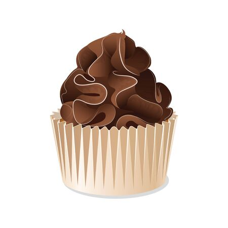 cream cake: Icon cupcake in a cup isolated on white background. Chocolate cupcake with chocolate cream. Vector illustration.