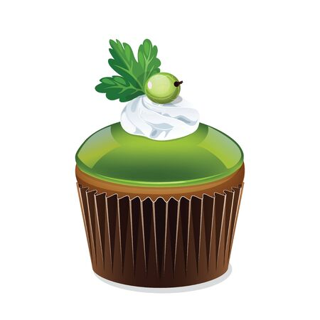 fairycake: Icon cupcake in a cup isolated on white background. Cupcake with green jelly and cream. Beautiful cake with gooseberries. Vector illustration.