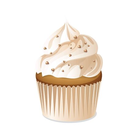 vanilla cake: Cupcake icon isolated on a white background. Vanilla cake with cream and nuts. Vector illustration. Illustration