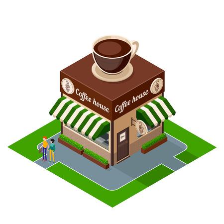等尺性のアイコン コーヒー店の建物は白い背景に分離されました。カフェの建物の 3 d のアイコン。人と等尺性外装建物コーヒー ショップ。ベクト