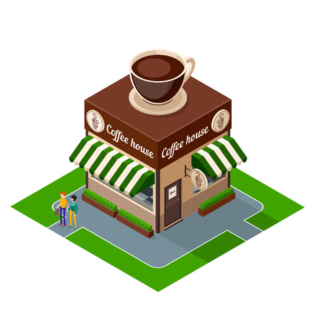 Isometric icon coffee shop building isolated on white background. 3d icons of building cafe. Isometric exterior building coffee shop with people. Vector illustration.