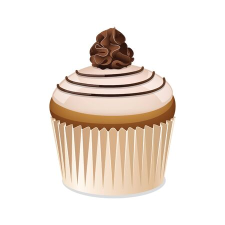 glaze: Cupcake icon isolated on a white background. Icon cupcake with vanilla glaze. Cake with chocolate cream. Vector illustration.