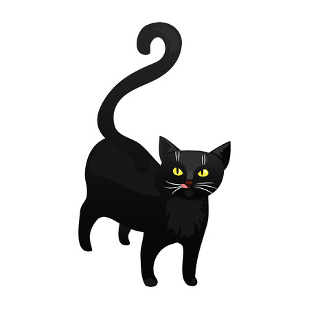 cat isolated: Black cat isolated on white background. Funny cat in cartoon style. Vector illustration.