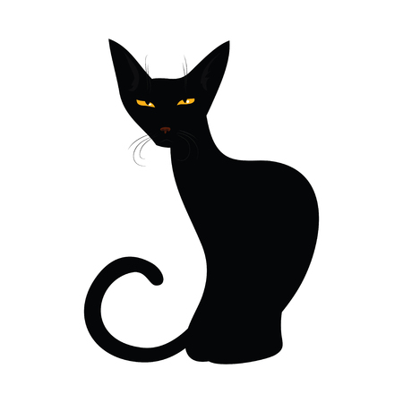 whisker characters: Black cat isolated on white background. Funny cat in cartoon style. Vector illustration.