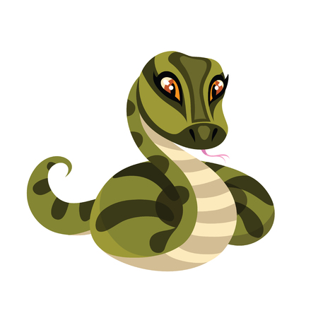 anaconda: Snake isolated on white background. Anaconda in cartoon style. Vector illustration.