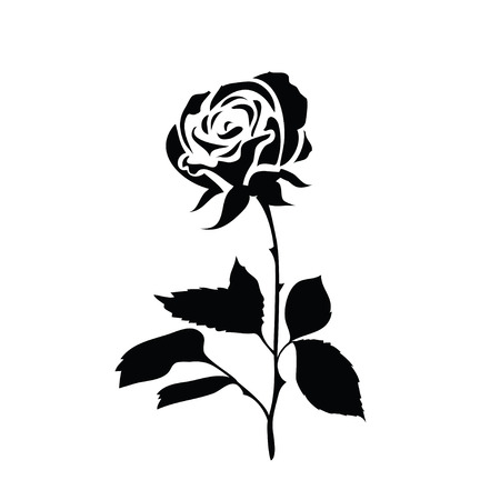 Stylized silhouette of a rose. Black and white rose icon isolated on a white background. Vector illustration.