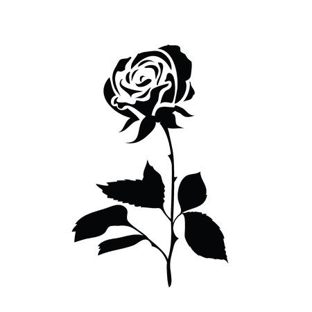silhouette stylisée d'une rose. Noir et blanc icône isolé sur un fond blanc rose. Vector illustration.