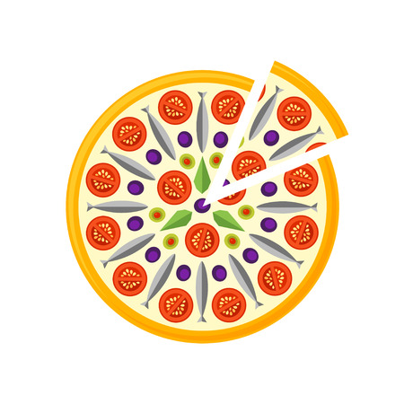 Pizza Icon isolated on a white background. Pizza slice. Pizza Icon in a flat style. Pizza with seafoods, cheese, tomatos and olives. Vector illustration.