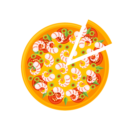 seafoods: Pizza Icon isolated on a white background. Pizza slice. Pizza Icon in a flat style. Pizza with seafoods, cheese, tomatos and olives. Vector illustration.