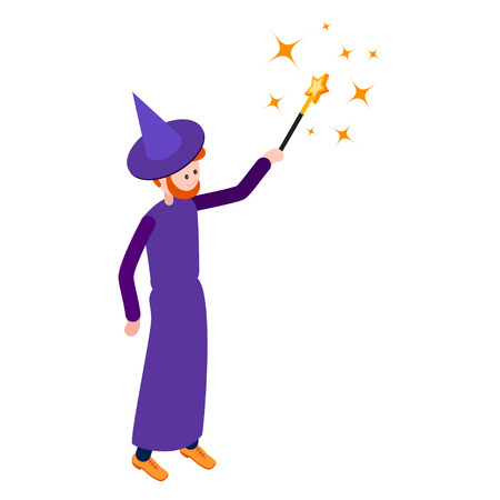 abracadabra: Cute wizard casts a spell using a magic wand. Wizard isolated on white background. Isometric icon of wizard. Vector illustration.