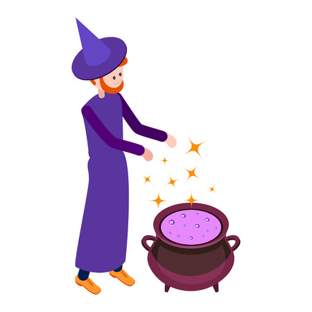 abracadabra: Cute wizard casts a spell above the cauldron with a potion. Wizard isolated on white background. Isometric icon of wizard. Vector illustration.