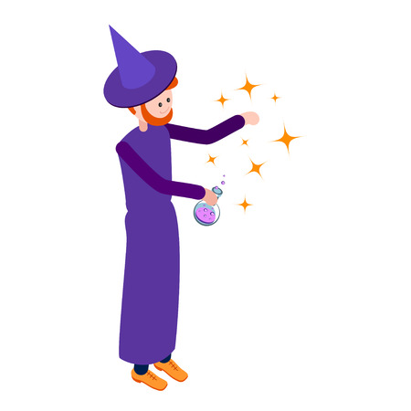 abracadabra: Cute wizard casts a spell over the flask of potion. Wizard isolated on white background. Isometric icon of wizard. Vector illustration.