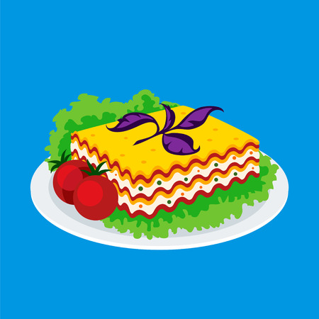 lasagna: Lasagna icon isolated on a blue background. Icon dishes with vegetarian lasagna with salad and tomatoes in a flat style. Vector illustration.