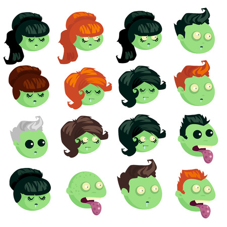 crazy hair: Big set of heads zombie isolated on white background. Zombie men and women in cartoon style. Set heads zombies with different hairstyles. Vector illustration.