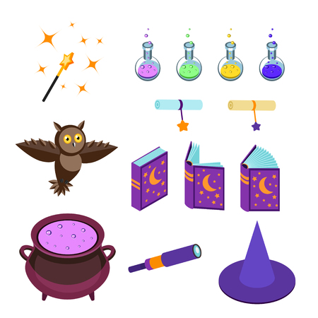 requisite: Isometric magical accessories isolated on white background. Magic wand, potions, magic books, hat a wizard, boiler, scrolls and post owl. Set magical icons. Vector illustration.