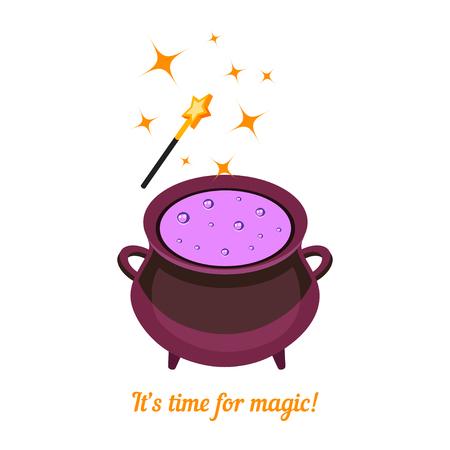 magic cauldron: Isometric magic cauldron isolated on white background. Magic wand and cauldron with potion. Magic background. Vector illustration.