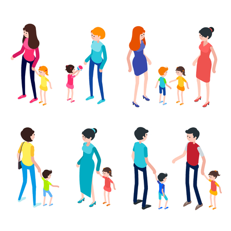 love icon: Isometric people isolated on white background. Young parents with children. Children walk and play with their parents. Set of 3d people. Vector illustration. Illustration