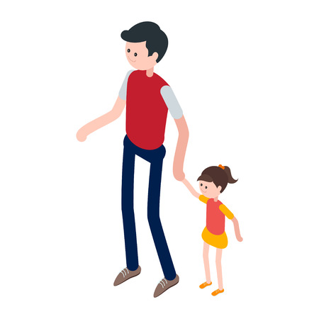 child standing: Isometric man and child. Icon dad with daughter isolated on a white background. A young man with a child. Vector illustration. Illustration