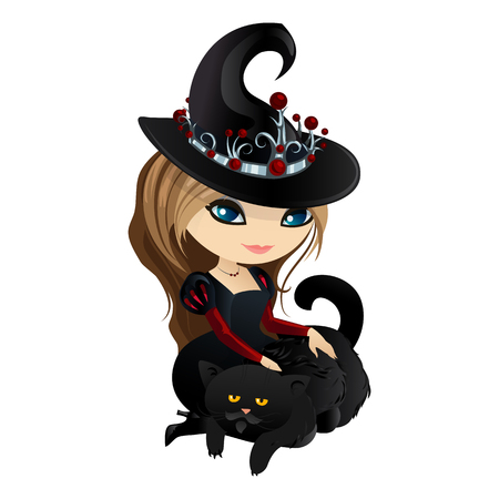 Cute girl witch isolated on white background. Girl witch in a cartoon style.