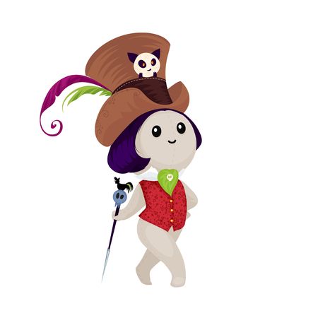 damnation: Voodoo doll isolated on a white background. Cute voodoo doll in cartoon style. Illustration