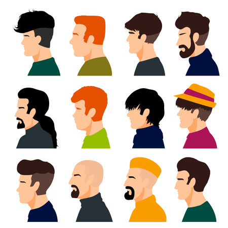 Set of men's heads isolated on a white background. Men's profiles in a flat style. Men avatars with different hairstyles. Vector illustration.