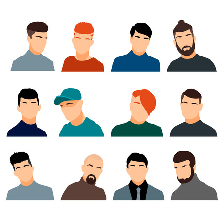 unrecognizable: Set of mens heads isolated on a white background. Mens faces in a flat style. Men avatars with different hairstyles. Vector illustration.