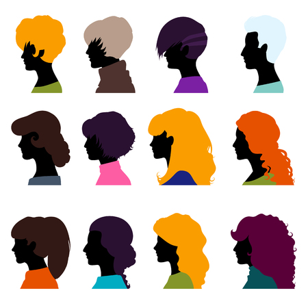 Set of female heads isolated on a white background. Womens profiles in a flat style. Female avatars with different hairstyles. Vector illustration.