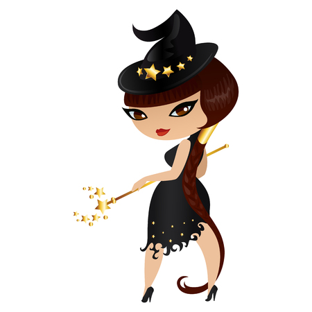 voluptuous: Witch isolated on white background. Cute girl witch in a cartoon style. Vector illustration.