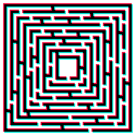 chromatic: Maze 3D effect. Maze with chromatic aberration. Abstract vector background with a maze. Probably used for banners, brochures, flyers, business cards, envelopes, letterheads. Vector illustration.