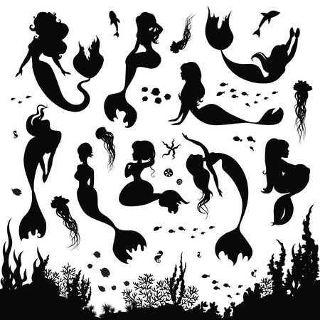 Black and white silhouettes of mermaid isolated on white background. Set of silhouettes of mermaids and sea animals. Silhouette of the sea bottom covered with algae. Vector illustration. Vettoriali