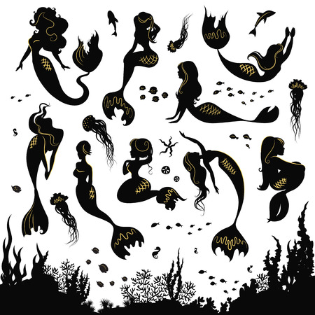 animal silhouette: Black and white silhouettes of mermaid isolated on white background. Set of silhouettes of mermaids and sea animals. Silhouette of the sea bottom covered with algae. Vector illustration. Illustration