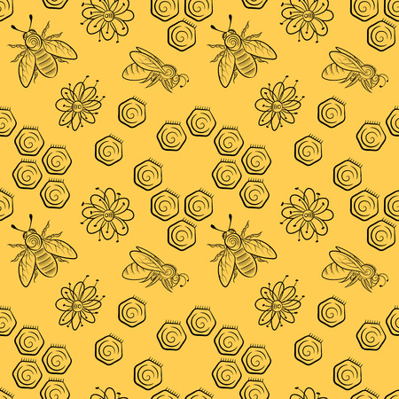 Seamless pattern of bees, flowers and honeycomb. Honey background in vintage style. Vector illustration.