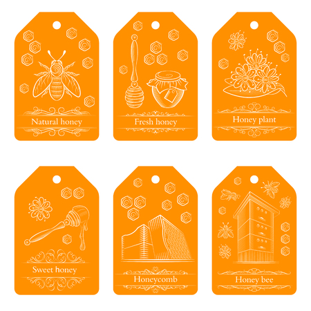 Set of labels with pots of honey, bees and flowers. Honey labels in vintage style. Vector illustration. Illustration