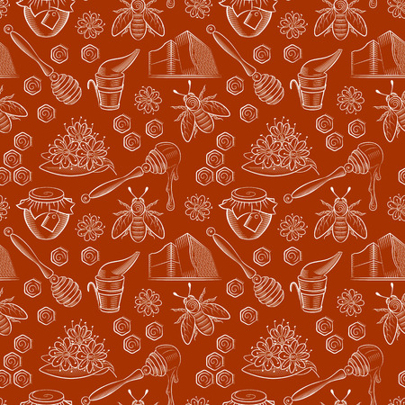 Seamless pattern with pots of honey, bees and flowers. Honey pattern in vintage style. Can be used in package design, web design. Vector illustration. Illustration