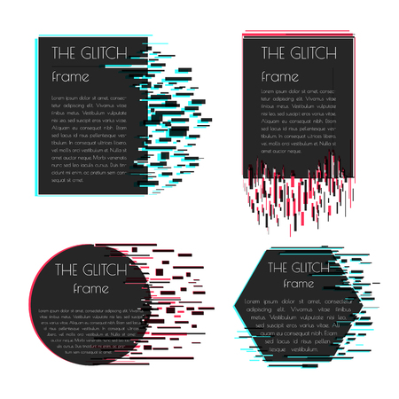 distorted image: Vector frame for text with glitch effect. Abstract vector shape with glitch effect. Can be used in web design, packaging design, design of covers and banners. Vector illustration. Illustration