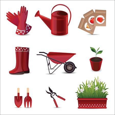 Un insieme di 9 icone lucide per le imprese. Set di attrezzi da giardino.