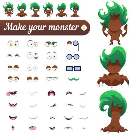 creation kit: Monster creation kit. Set for construction of vector avatars monsters. Spooky trees for Halloween. Vector illustration.