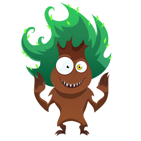 Funny tree monster for Halloween. Spooky tree isolated on white background. Vector illustration.